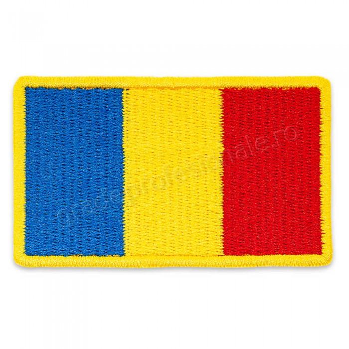 Drapel Romania contur galben 75x45 mm