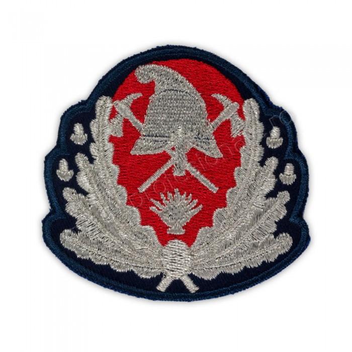 Emblemă coifură generali pompieri, IGSU brodată cu fir metalic argintiu