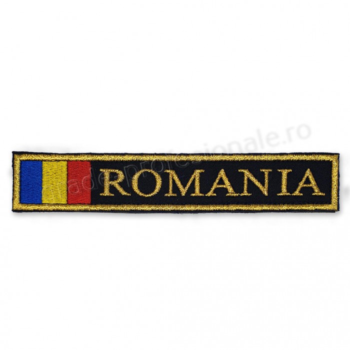 Ecuson Romania cu Drapel fir metalizat